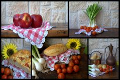 Collage dell'alimento immagine stock