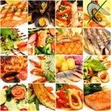 Collage dell'alimento Pesce e frutti di mare gastronomici del ristorante Fotografie Stock Libere da Diritti