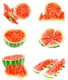 Collage dell'anguria su bianco, isolato Immagini Stock
