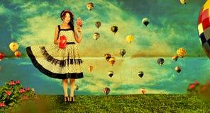 Collage dell'annata con la donna fotografia stock
