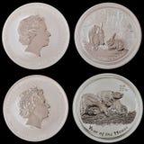 Collage dell'argento di moneta Fotografia Stock