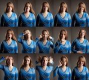 Collage dell'espressione differente del fronte Immagini Stock Libere da Diritti