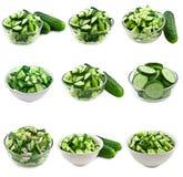 Collage dell'insalata del cetriolo Fotografia Stock Libera da Diritti