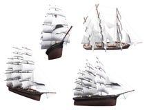 Collage della barca isolata illustrazione vettoriale
