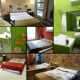 Collage della camera di albergo Fotografia Stock