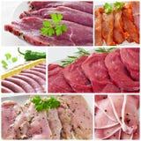 Collage della carne cruda Fotografie Stock
