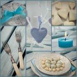 Collage della cena dei biglietti di S. Valentino Fotografia Stock Libera da Diritti