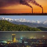 Collage della città e natura di Almaty, ambiente, montagne e Ka Fotografia Stock Libera da Diritti