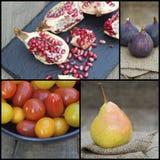 Collage della compilazione di frutta fresca con il tema autunnale Immagini Stock