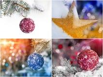 Collage della decorazione di Natale Fotografie Stock