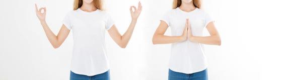 Collage della donna con l'espressione calma e rilassata, stante nella posa di yoga con le armi di diffusione Insieme del primo pi immagine stock libera da diritti