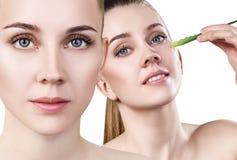 Collage della donna con la pianta di vera dell'aloe e la pelle perfetta Immagine Stock