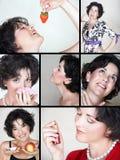 Collage della donna di stile di vita Immagine Stock