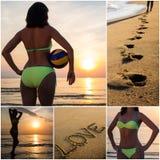Collage della donna esile sexy sulla spiaggia di estate Fotografie Stock