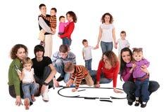 Collage della famiglia con il treno del giocattolo Immagine Stock