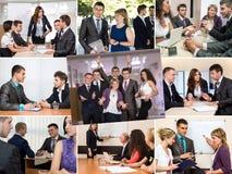Collage della foto che racconta storia dell'affare Team Success immagini stock