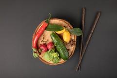 Collage della foto con la varie frutta e verdure fotografie stock
