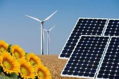 Collage della foto dei pannelli solari e del turbin del vento contro i precedenti dei raccolti Fotografia Stock Libera da Diritti