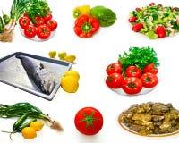 Collage della foto dell'alimento di dieta sana Immagini Stock Libere da Diritti