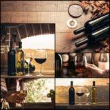 Collage della foto dell'assaggio di vino e di vinificazione Fotografia Stock