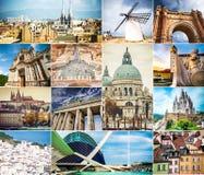 Collage della foto di architettura delle città antiche Fotografia Stock