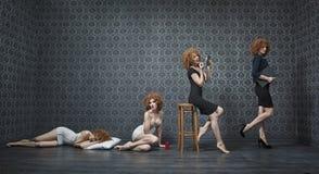 Collage della foto di una mattina tipica di giovane donna di affari Fotografia Stock