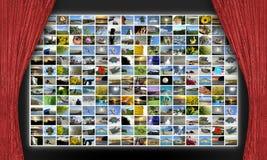 Collage della foto sullo schermo del teatro Fotografia Stock