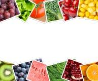 Collage della frutta e delle foto delle verdure Immagini Stock
