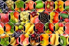 Collage della frutta e delle verdure fresche Immagini Stock Libere da Diritti
