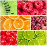 Collage della frutta fresca di estate Immagini Stock