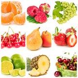 Collage della frutta fresca e delle bacche Fotografia Stock Libera da Diritti
