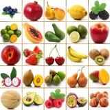 Collage della frutta su fondo bianco Immagine Stock Libera da Diritti