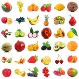 Collage della frutta su fondo bianco Fotografie Stock
