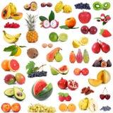 Collage della frutta su fondo bianco Immagini Stock Libere da Diritti