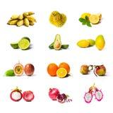 Collage della frutta tropicale isolato su bianco Fotografie Stock Libere da Diritti