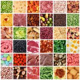 Collage della gastronomie nel fondo del bordo bianco Fotografia Stock