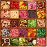 Collage della gastronomie nel fondo del bordo di legno Fotografia Stock Libera da Diritti