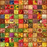 Collage della gastronomie nel fondo del bordo di legno Immagini Stock Libere da Diritti
