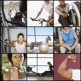 Collage della gente che si esercita nella palestra fotografie stock libere da diritti