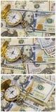 Collage della gestione di tempo dell'orologio da tasca delle banconote dei contanti Fotografia Stock