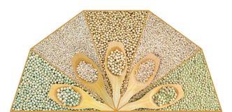Collage della lenticchia, del pisello, della soia, dell'avena e del barle asciutti Immagini Stock