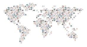 Collage della mappa di mondo delle immagini mediche Fotografie Stock Libere da Diritti