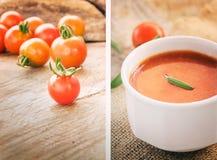 Collage della minestra del pomodoro Fotografia Stock Libera da Diritti