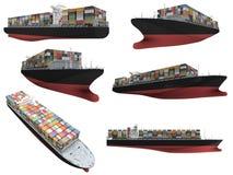 Collage della nave isolata illustrazione di stock