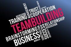 Collage della nuvola di parola di team-building, fondo sano di concetto illustrazione vettoriale