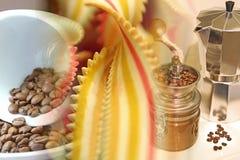 Collage della pasta e del caffè Fotografia Stock