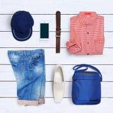 Collage della raccolta dell'abbigliamento degli uomini Fotografia Stock