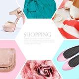 Collage della raccolta dell'abbigliamento delle donne Fotografie Stock