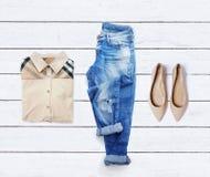Collage della raccolta dell'abbigliamento delle donne Immagine Stock Libera da Diritti