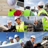 Collage della raffineria di petrolio dell'ingegnere Fotografie Stock Libere da Diritti